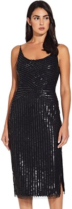 Adrianna Papell Black Tank Beaded Midi Dress