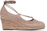 Schutz Giza lace-up suede wedge espadrille sandals