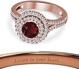 Araska Diamond Double Halo Disney Princes Engagement Ring Round Cut Garnet W/ 14k Rose Gold Plated