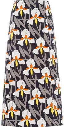 Prada geometric orchid print A-line skirt