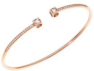 Dinh Van Le Cube 18K Rose Gold & Diamond Pave Medium Bangle Bracelet