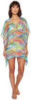 Lauren Ralph Lauren Ikat Stripe Crinkle Poly Chiffon Laced Tunic Cover-Up Women's Swimwear