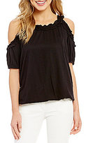 M.S.S.P. Knitted Gauze Cold Shoulder Top