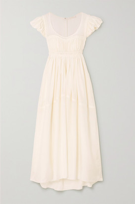 Chloé Ruched Silk Gown - White