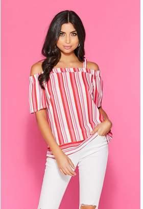 Quiz Red Pink Stripe Cold Shoulder Top