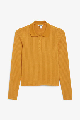 Monki Ribbed long-sleeved top
