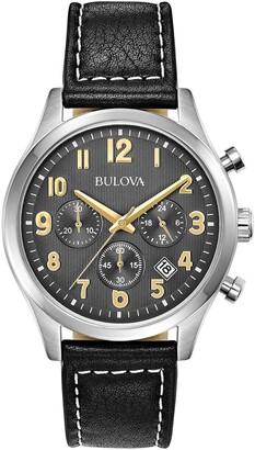 Bulova Men's Quartz Analog Leather Strap Watch, 41mm