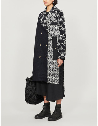 Song For The Mute Contrast-panel double-breasted wool-blend coat