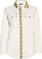 Balmain Crystal-embellished leather shirt