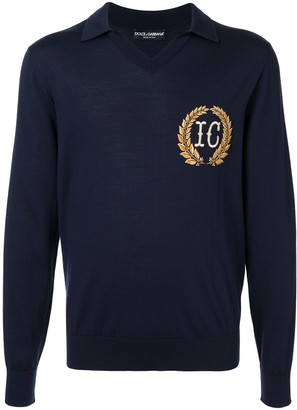 Dolce & Gabbana Crest Embroidered Knitted Polo Shirt