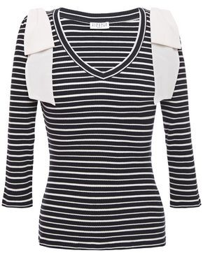 Claudie Pierlot Bow-embellished Ribbed Stretch Cotton-jersey Top