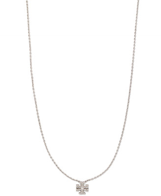 Tory Burch Kira Pave Delicate Necklace, Silver