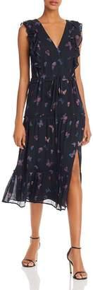 Paige Basil Butterfly-Print Silk Dress