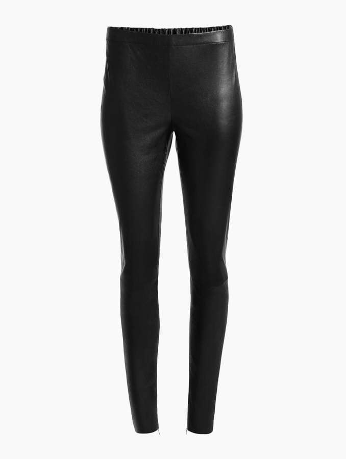 St. John Stretch Nappa Leather Cropped Legging with Ankle Zippers