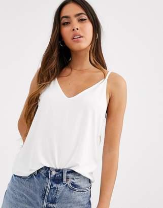 Asos Design DESIGN formal cami with v front and back in lyocel in white