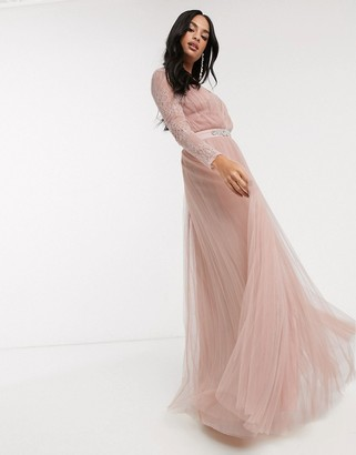 Asos Design DESIGN lace sleeve plunge tulle maxi dress with embellished waist trim detail