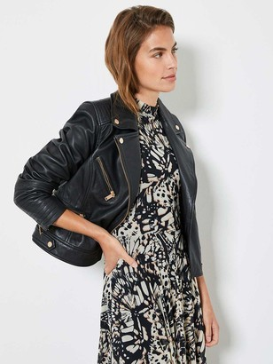 Mint Velvet Stitch Sleeve Detail Leather Biker Jacket - Black
