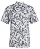 Burton Mens Big & Tall Khaki Short Sleeve Leaf Printed Shirt