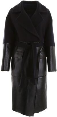BLANCHA WOOL AND SHEARLING COAT 44 Blue, Black Wool, Leather, Fur