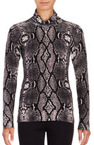 Context Snakeskin-Print Turtleneck Sweater
