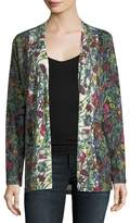 Neiman Marcus Floral-Print Cashmere Cardigan w/ Solid Sheer Back