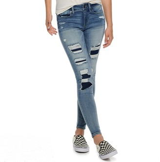 Mudd Juniors' Low-Rise Destructed Ankle Jeggings