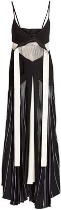 Proenza Schouler Mixed-Media Pleated Cady Maxi Dress