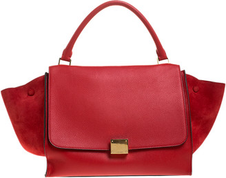Celine Red Leather and Suede Medium Trapeze Bag