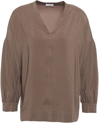 Brunello Cucinelli Bead-embellished Stretch-silk Blouse