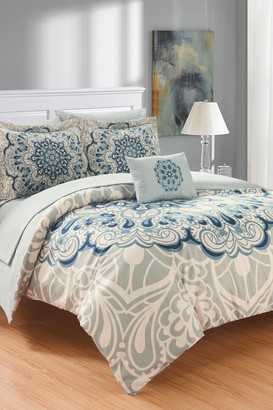 Twin Almira Reversible Medallion Bed In a Bag Comforter Set - Blue