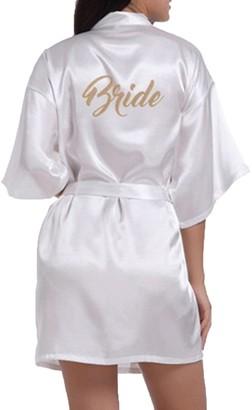 WPFING Bridal Bride Dressing Gown Satin Robe Gold Letter Silky Satin White/Medium