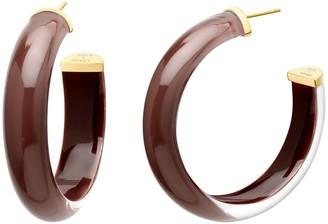 Gold & Honey Medium Illusion Nude Lucite Hoops - Brown