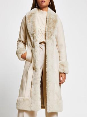 River Island Faux Fur Robe Coat - Cream