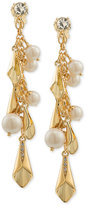 Carolee Gold-Tone Pavé & Imitation Pearl Shaky Clip-On Drop Earrings