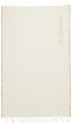 Jil Sander Logo-jacquard Fringed Cotton Throw - Cream