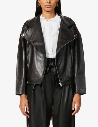 BA&SH Keith high-neck leather jacket