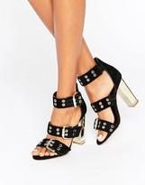 Office Shots Eyelet Strap Black Suede Block Heeled Sandals