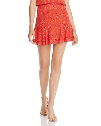 Aqua Flounced Ditsy Floral-Print Mini Skirt - 100% Exclusive