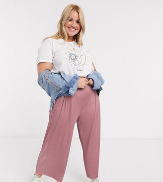 Asos DESIGN Curve plisse culotte trouser in rose