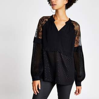 River Island Womens Black lace long sleeve V neck sheer top