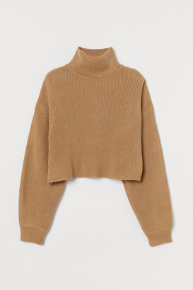 H&M Cropped Turtleneck Sweater - Beige