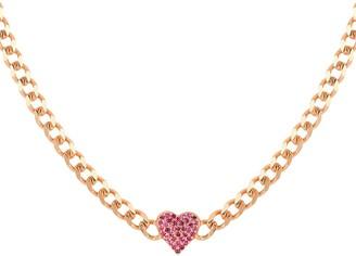 GABIRIELLE JEWELRY I Heart You 14K Gold Vermeil Ruby Cubic Zirconia Heart Choker Necklace