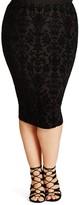 City Chic Burnout Pencil Skirt