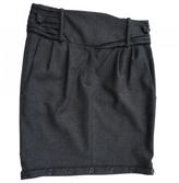 Balmain Anthracite Wool Skirt