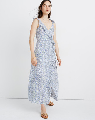 Madewell Petite Ruffled Wrap Maxi Dress in Americana Floral