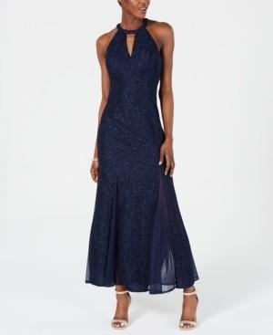 Night Way Nightway Glitter-Knit Teardrop Gown