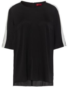 HUGO Short-sleeved top in stretch silk with contrast stripes