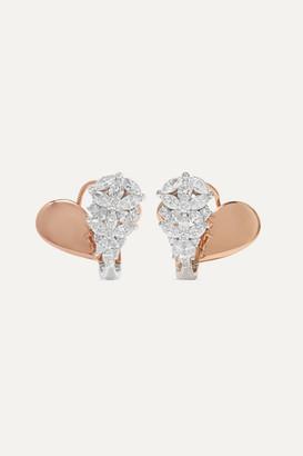 YEPREM 18-karat Rose And White Gold Diamond Earrings - Rose gold