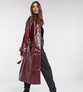 Asos Tall ASOS DESIGN Tall vinyl trench coat with contrast stitching in oxblood