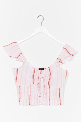 Nasty Gal Womens Tie Your Luck Ruffle Crop Top - White